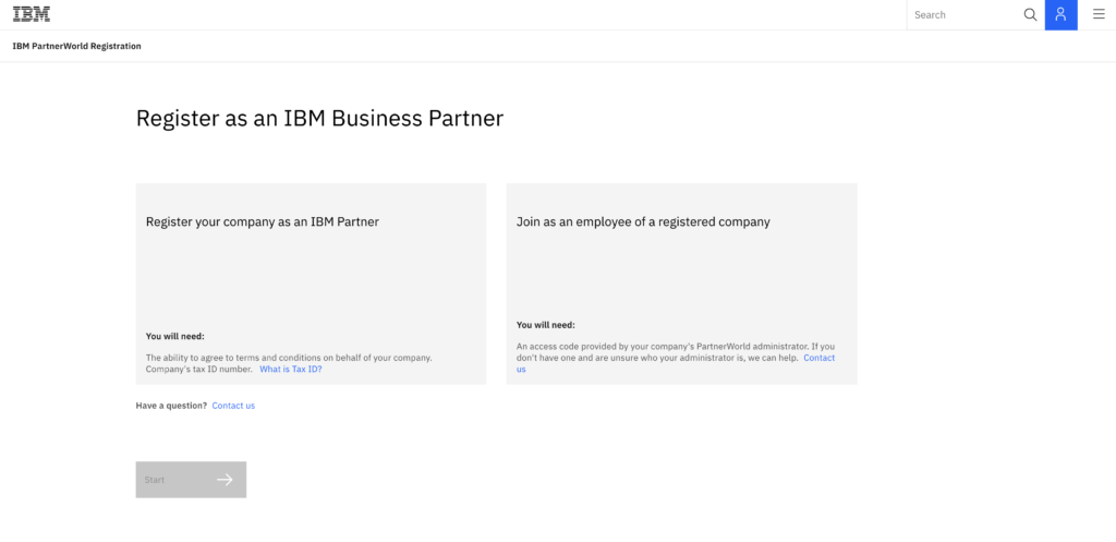 A screenshot of the two options when registering users - registering an existing business or organization.